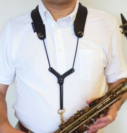 "Photo1: Feather Strap ""Dual"" for Saxophones/other woodwind instrument"